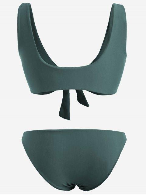best Front Knot Plus Size Bikini Set - BLACKISH GREEN 3XL Mobile