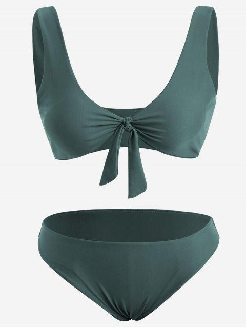 Frontknoten Plus Size Bikini Set - Dunkelgrün 3XL Mobile