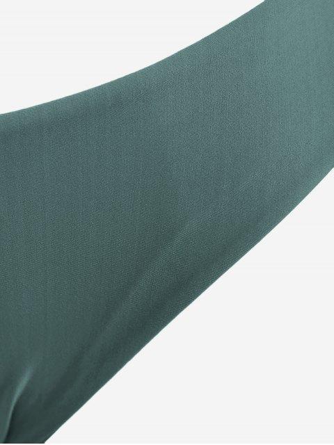 online Front Knot Plus Size Bikini Set - BLACKISH GREEN 2XL Mobile