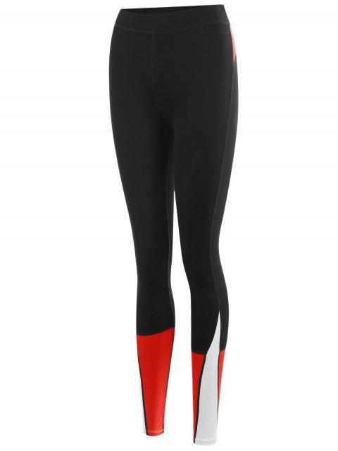 outfit Color Block Sports Leggings - RED M Mobile