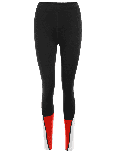 outfits Color Block Sports Leggings - RED S Mobile