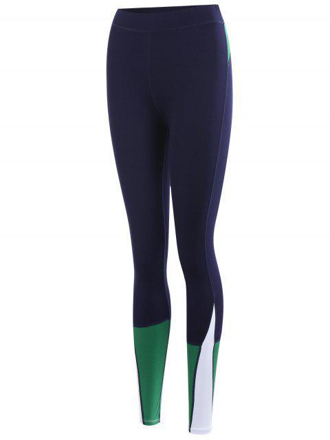 sale Color Block Sports Leggings - PURPLISH BLUE L Mobile