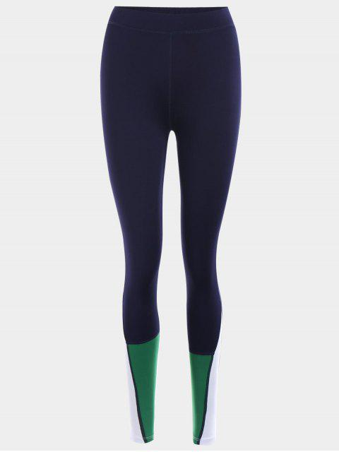 affordable Color Block Sports Leggings - PURPLISH BLUE M Mobile