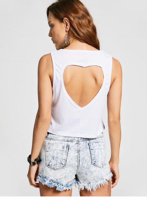 sale Cut Out Bowknot Graphic Tank Top - WHITE S Mobile