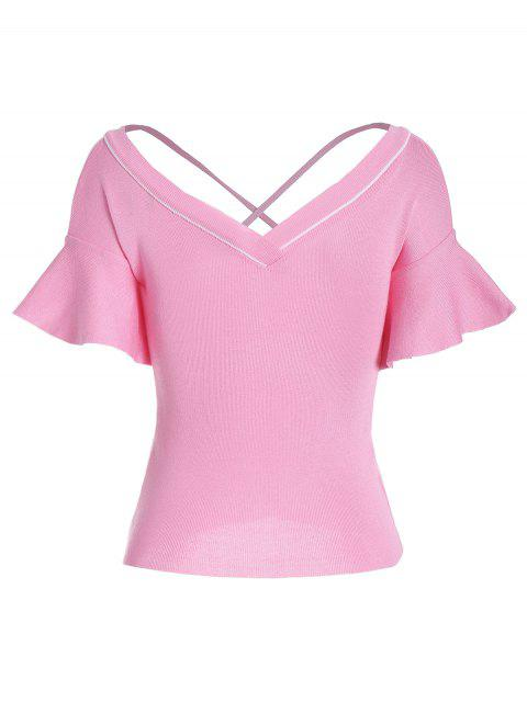 best Criss Cross Flare Sleeve Knitted Tee - PINK ONE SIZE Mobile
