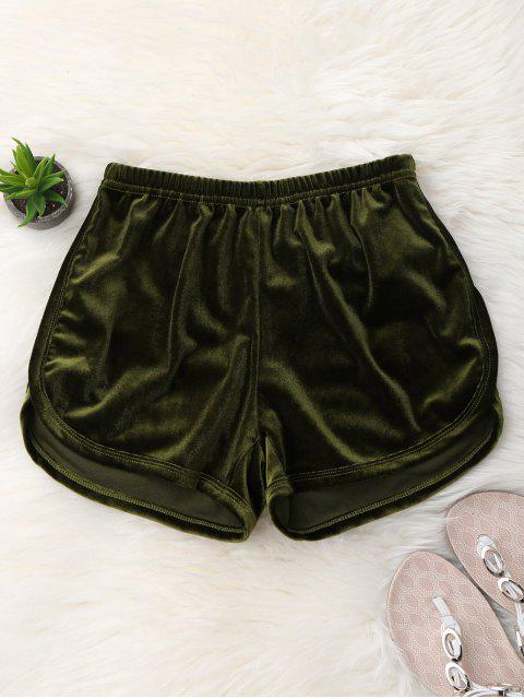 shop Elastic Waist Casual Velvet Shorts - ARMY GREEN S Mobile