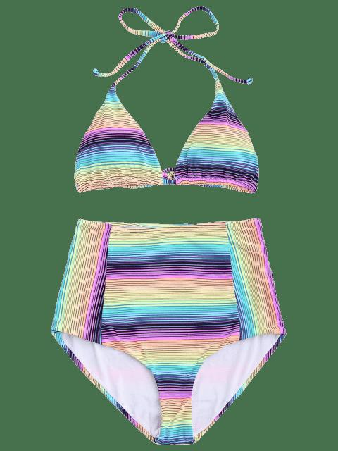 best Striped High Waisted Bikini Set - STRIPE S Mobile