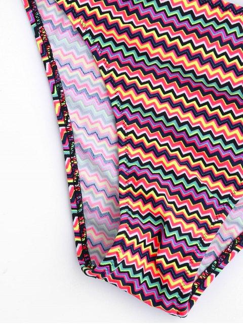 online Colorful Zig Zag Smocked Bikini Set - COLORMIX L Mobile