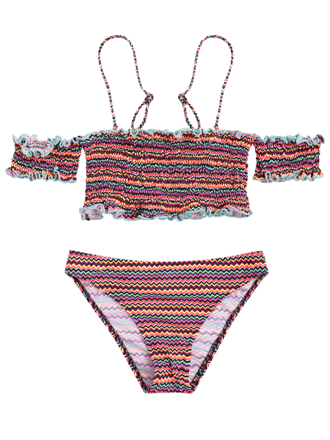 outfits Colorful Zig Zag Smocked Bikini Set - COLORMIX S Mobile