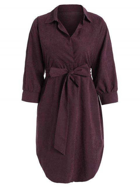 latest Belted Plain High Low Dress - WINE RED M Mobile