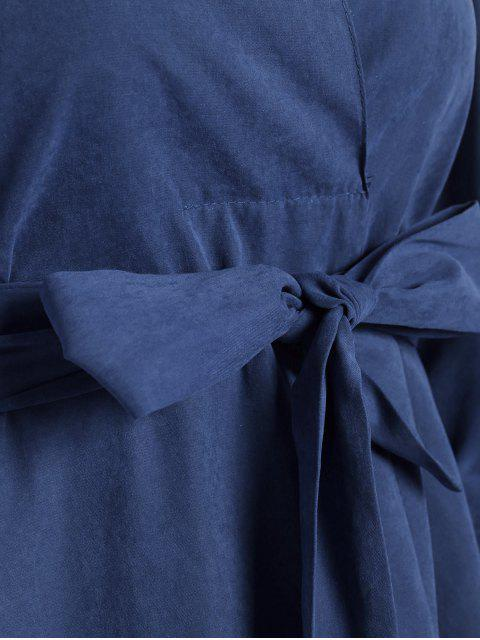 women Belted Plain High Low Dress - BLUE S Mobile