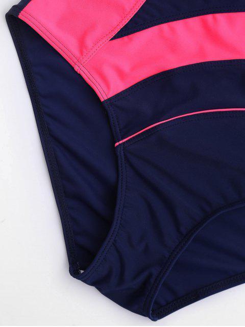One Piece Cut Out Color Block Swimwear - Bleu et Rose S Mobile