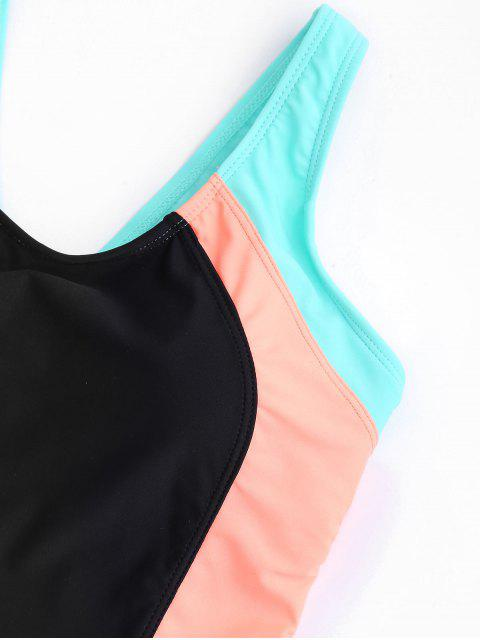 ladies Scoop Cut Out Color Block Swimwear - COLORFUL L Mobile