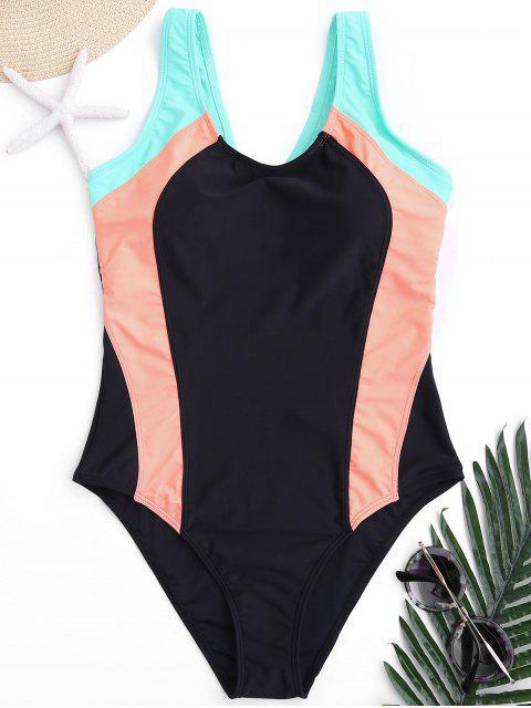 Scoop Cut Out Color Block Swimwear - Coloré S Mobile