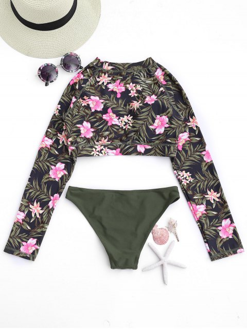 outfit Long Sleeve Leaf Print Tankini Set - FLORAL M Mobile