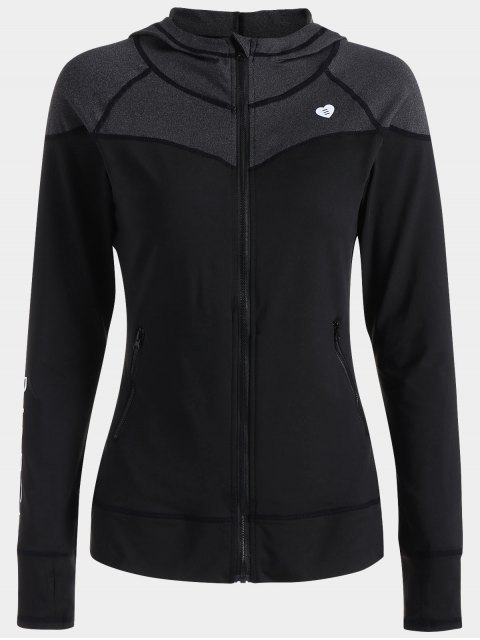 shops Zip Up Hooded Sports Jacket - BLACK XL Mobile