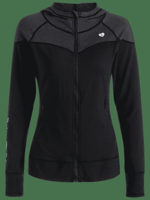 shops Zip Up Hooded Sports Jacket - BLACK XL Mobile