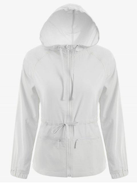 chic Zip Up Drawstring Hooded Sports Jacket - WHITE M Mobile