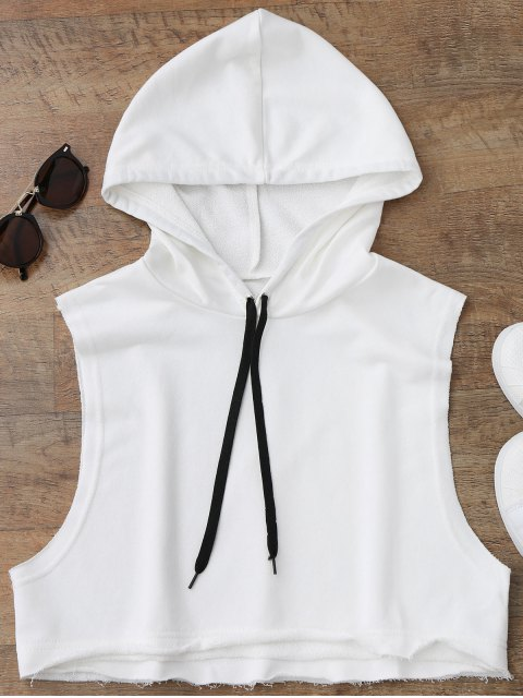 women's Dropped Armhole Hooded Sports Top - WHITE ONE SIZE Mobile