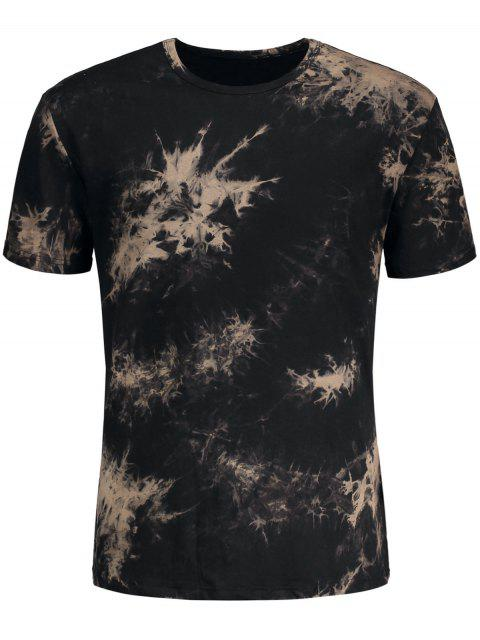 shop Short Sleeve Tie-Dyed Tee - BLACK L Mobile