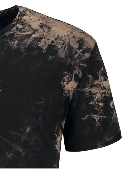 latest Short Sleeve Tie-Dyed Tee - BLACK S Mobile