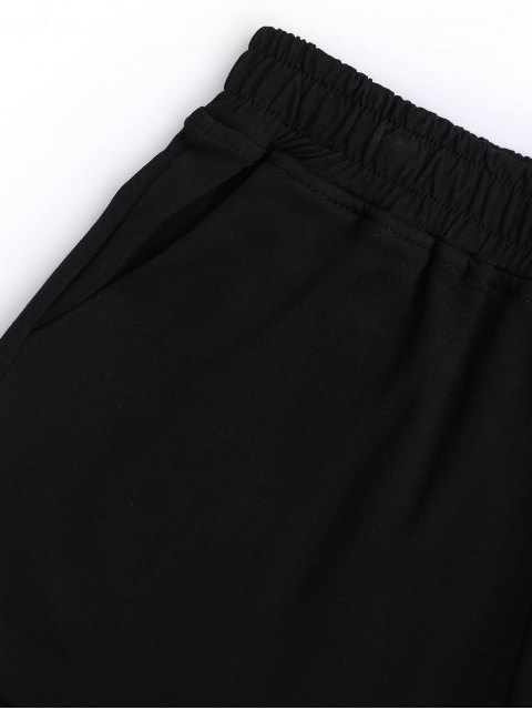 buy Rolled Cuff Elastic Waist Sports Shorts - BLACK M Mobile