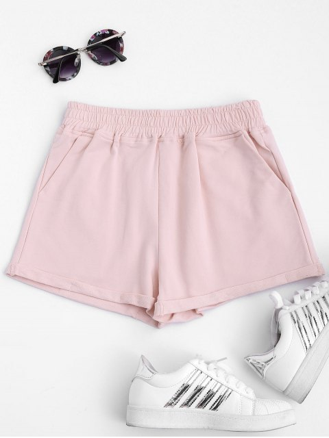 women Rolled Cuff Elastic Waist Sports Shorts - PINK L Mobile