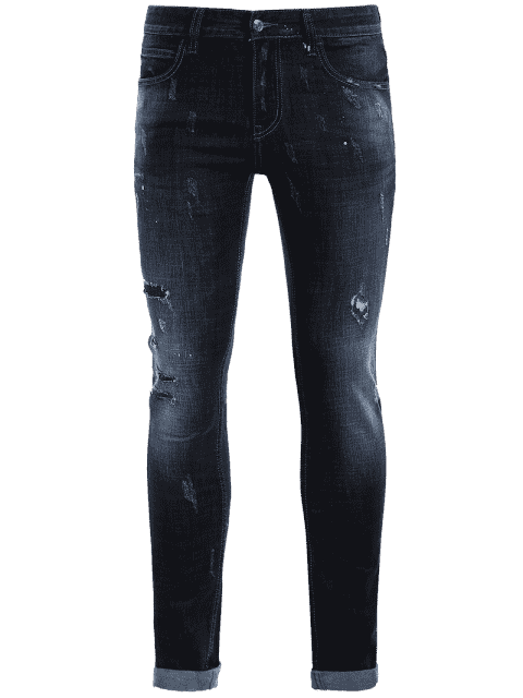 lady Men Straight Ripped Vintage Jeans - BLUE 34 Mobile
