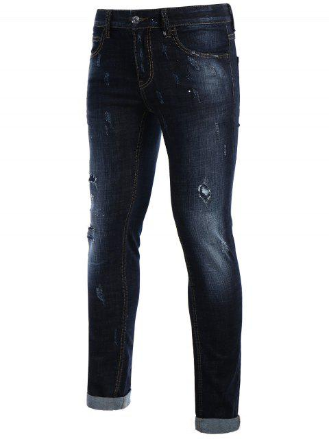 Hommes Straight Ripped Vintage Jeans - Bleu 34 Mobile