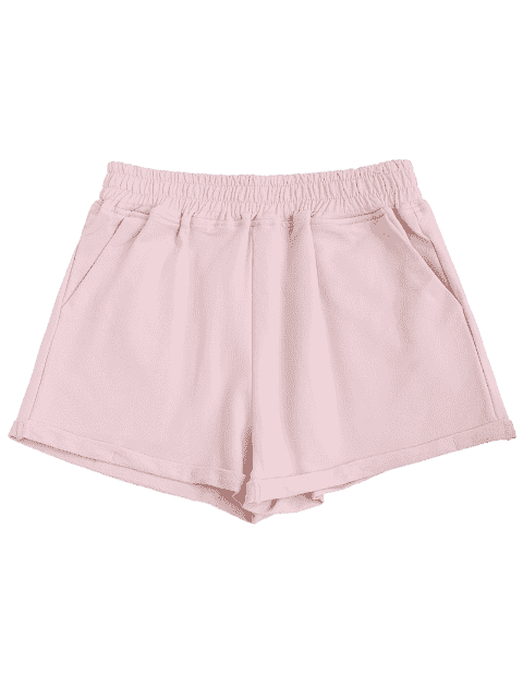 ladies Rolled Cuff Elastic Waist Sports Shorts - PINK M Mobile