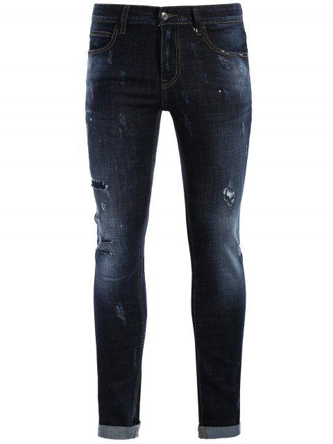 best Men Straight Ripped Vintage Jeans - BLUE 32 Mobile