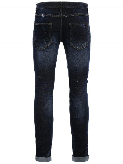 Hommes Straight Ripped Vintage Jeans - Bleu 32 Mobile