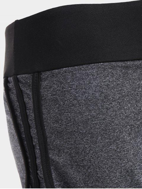 hot Layers Color Block Running Pants - GRAY L Mobile