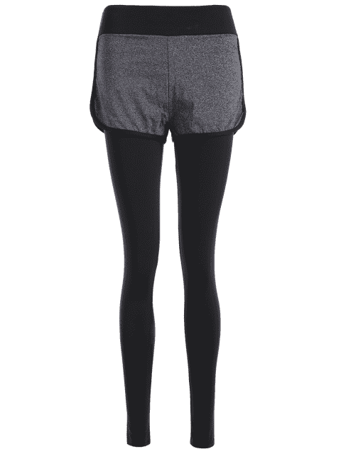 outfits Layers Color Block Running Pants - GRAY M Mobile