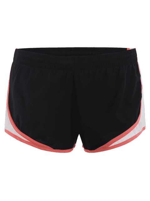shops Contrast Trim Drawstring Sports Shorts - BLACK L Mobile
