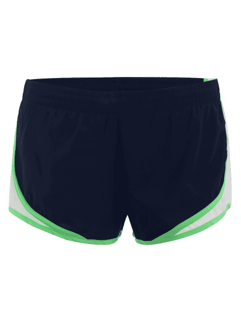Contraste Trim Drawstring Sports Shorts - Bleu Foncé L Mobile