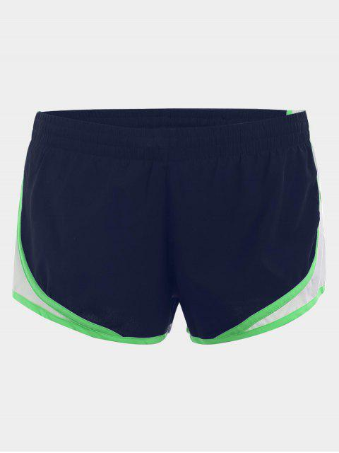 Contraste Trim Drawstring Sports Shorts - Bleu Foncé M Mobile