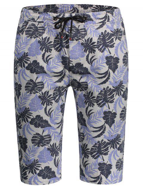 womens Leaf Print Drawstring Bermuda Shorts - COLORMIX 2XL Mobile