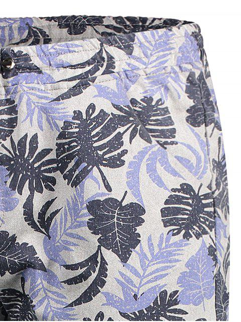 women Leaf Print Drawstring Bermuda Shorts - COLORMIX XL Mobile