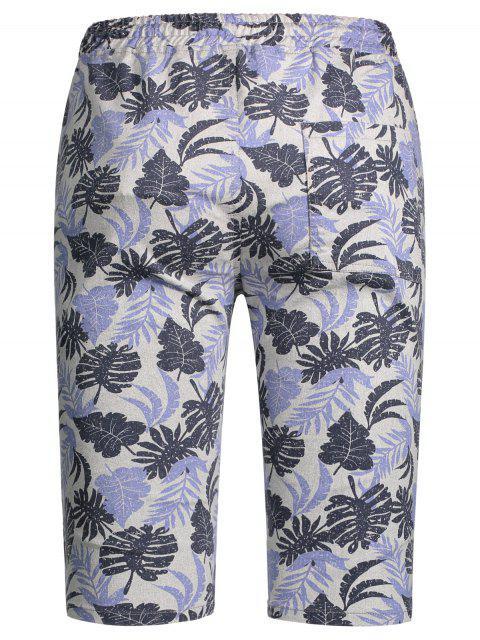 ladies Leaf Print Drawstring Bermuda Shorts - COLORMIX M Mobile