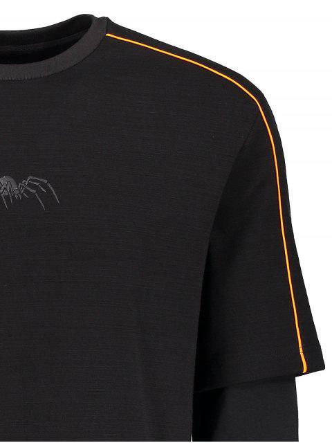 Sweatshirt à imprimé isolé à rayures simples - Noir M Mobile
