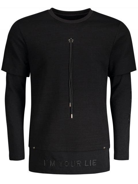 Sweat à capuche bordé en forme de drap - Noir XL Mobile