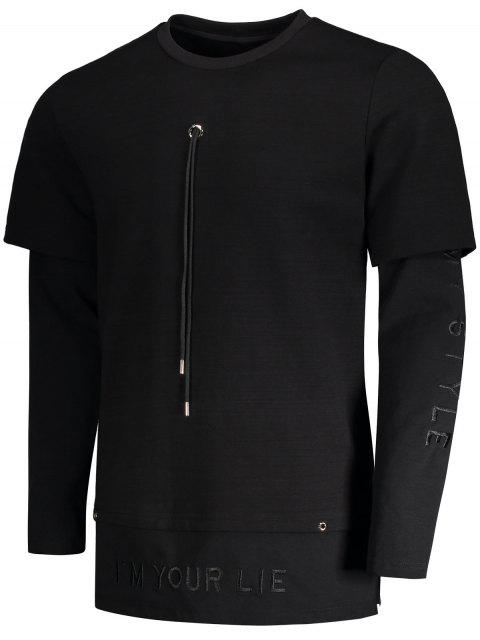 chic Letter Embroidered Front Drawstring Sweatshirt - BLACK M Mobile