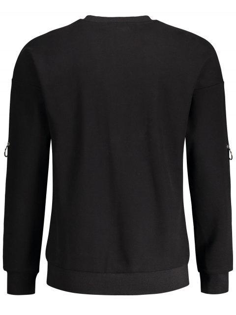 outfits Metal Ring Decor Printed Sweatshirt - BLACK XL Mobile