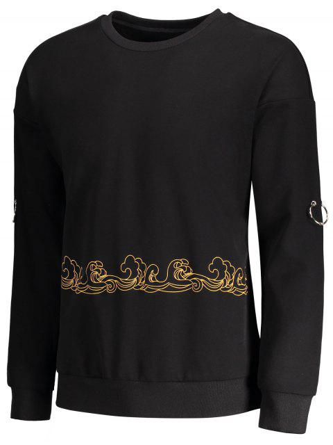 shops Metal Ring Decor Printed Sweatshirt - BLACK M Mobile