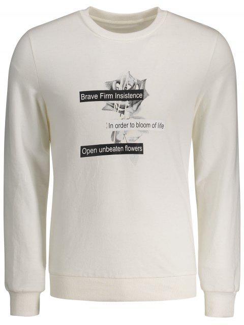 trendy Crew Neck Casual Graphic Sweatshirt - WHITE L Mobile