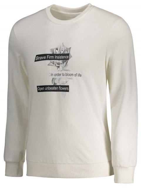 chic Crew Neck Casual Graphic Sweatshirt - WHITE XL Mobile