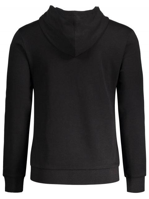 women Two Tone Embroidery Hoodie - BLACK L Mobile