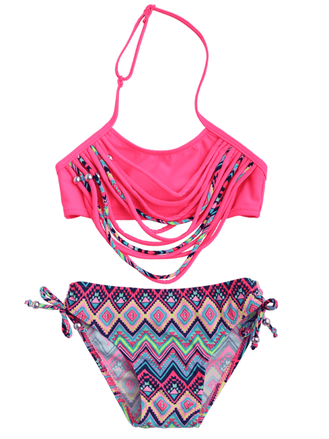 online Zig Zag Banded Halter Kid Bikini - TUTTI FRUTTI 7T Mobile