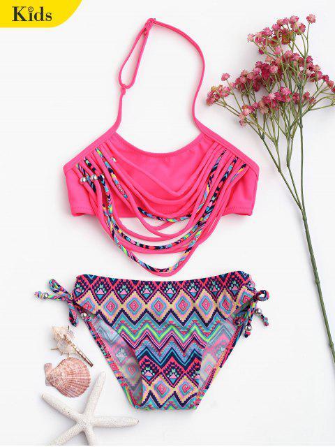 hot Zig Zag Banded Halter Kid Bikini - TUTTI FRUTTI 8T Mobile
